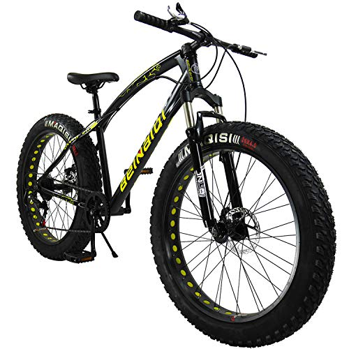 "SAIGULA Fat Tire Bicycle Fat Mountain Bike 26 Inch 4.0"" Tire BTM 7 Speed with Shimano for Adult (FB1 Black)"