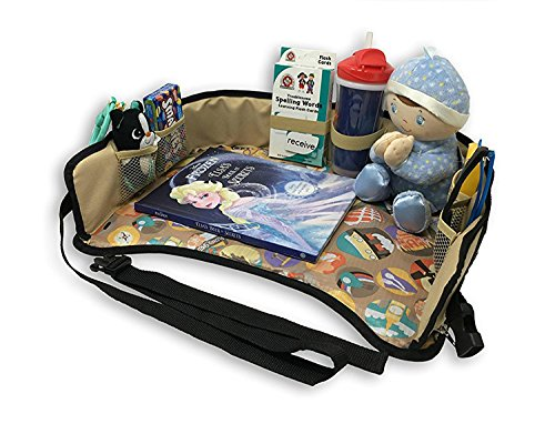 Kids Toddlers Car Seat Travel Tray Reinforced Sturdy Base Waterproof Toy Organizer Snack and Play Tray with Mesh Pockets for Short Trips or Long Journeys 16'' x 13'' by urbanviva (Image #3)