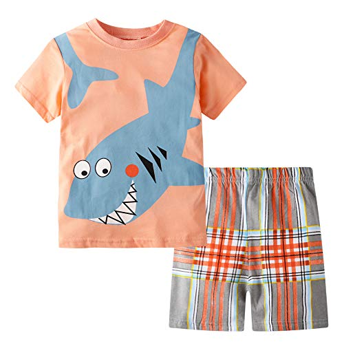BIBNice Little Boys Summer Outfits Clothes Short Sets Cotton Pajamas Size 6]()