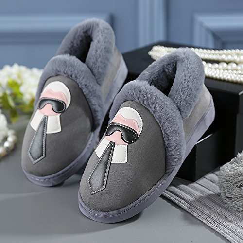 Y-Hui gli amanti della femmina inverno pantofole di cotone borsa con scarpe maschili Home Home arredo caldo pantofole spessa alla fine dell'inverno,44-45 (Fit per 43-44 piedi),grigio