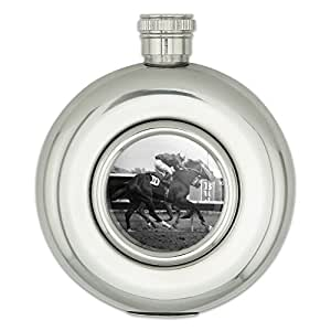 Round Stainless Steel 5oz Hip Flask Gambling Track Cards Poker - At the Track Horse Racing Vintage