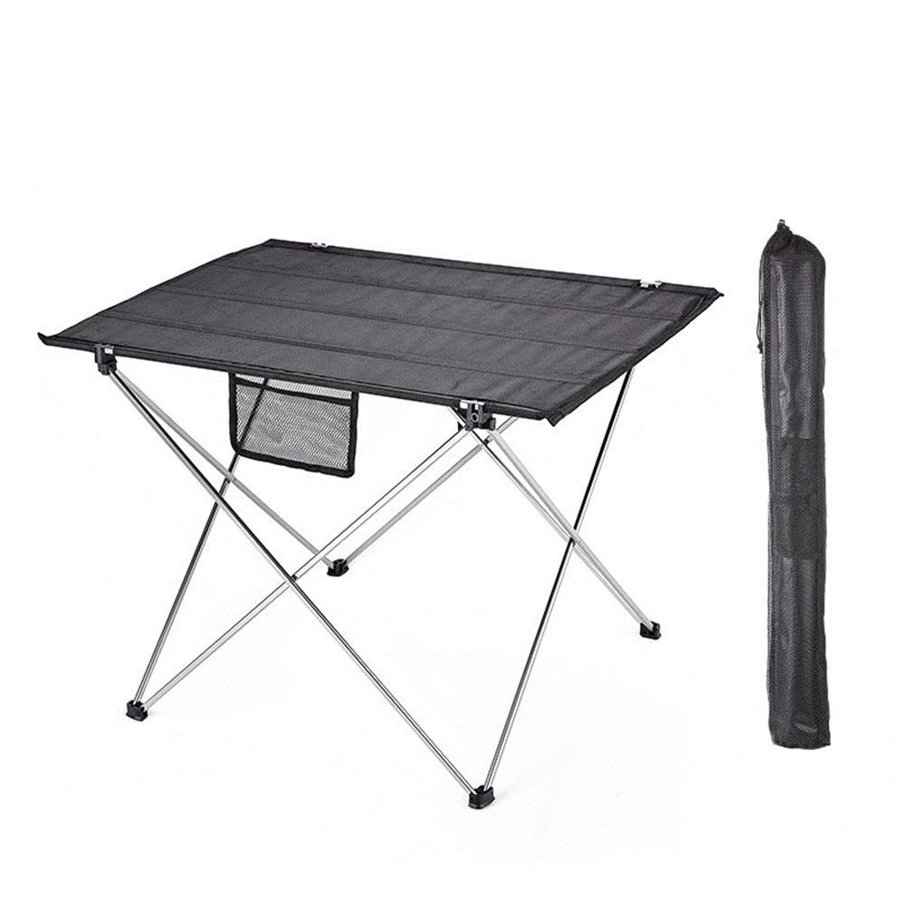 Argent 57x42x38cm Table Pliable Bureau Mini table pliante légère extérieure portative de tables de pliage avec des porte-gobelets convenant à la pêche, au pique-nique, au camping et aux voyages Compact Pratique