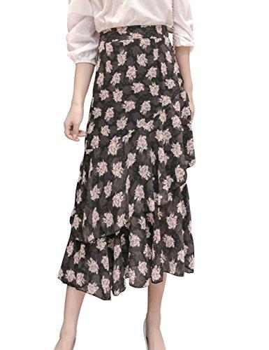 Z&I Women's Casual Boho Floral Print High Waist Ruffle Long Skirt Black L