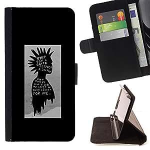 BullDog Case - FOR/LG OPTIMUS L90 / - / punk kid black poster guy grey man /- Monedero de cuero de la PU Llevar cubierta de la caja con el ID Credit Card Slots Flip funda de cuer