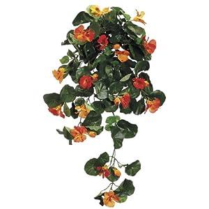 House of Silk Flowers Artificial 26-inch Orange Nasturtium Trailing Bush (Set of 6) 51