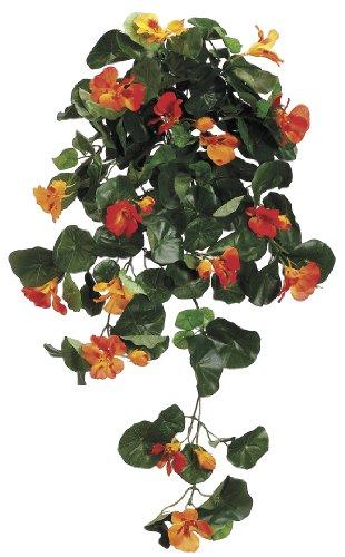 """Artificial 26"""" Orange Nasturtium Trailing Bush"""