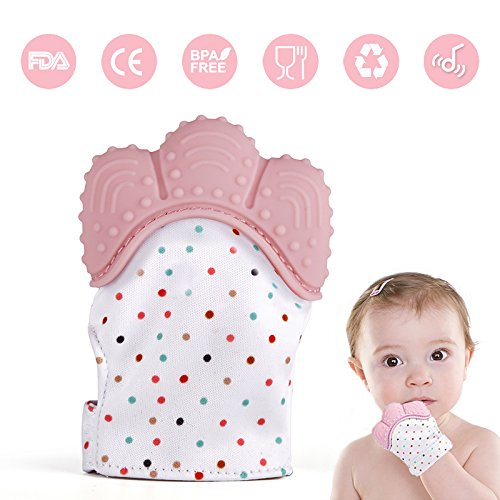 - Baby Teething Mitten, Lintelek Baby Self-Soothing Pain Relief Hand Glove Teether, BPA FREE Safe Food Grade Silicon Sounding Baby Glove Teething Mitten Toy for 3-18 Months Baby, Quartz Pink