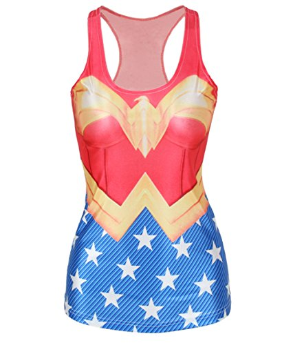 Amoluv Hot Fashion Women Wonder Woman Cape Printed Sleeveless T Shirt Vest Tank Tops BX019 One Size -