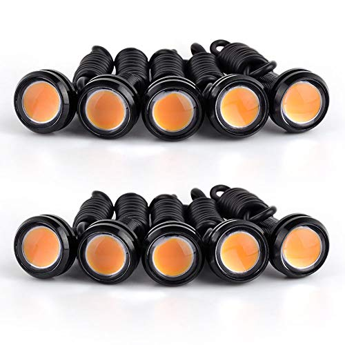 YITAMOTOR 10x Amber Eagle Eye Lights Universal High Power 9W Car Motorcycle Lighting Daytime Running DRL Fog Tail Bumper Backup Bulbs (23mm,Yellow)