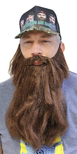 [Extra Long Fake Brown Beard w/ Mustache (One Size Fits All)] (Brown Mustache And Beard Costume)