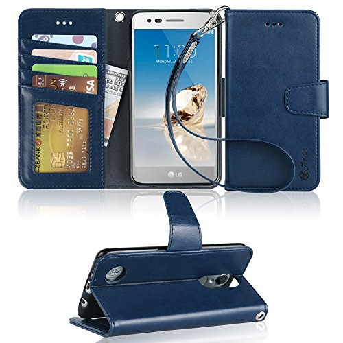 LG Aristo Case, LG Phoenix 3 Case, LG K8 2017 Case, LG Fortune Case, LG Risio 2 Case, LG Rebel 2 LTE Case, Arae LG Aristo wallet Case with Kickstand and Flip cover - Blue by Arae