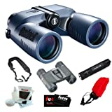 Bushnell 137570 Marine Blue Porro 7x50mm with Digital Compass Binocular + Fenix E01 Compact Keychain LED Flashlight in Black + Accessory Kit