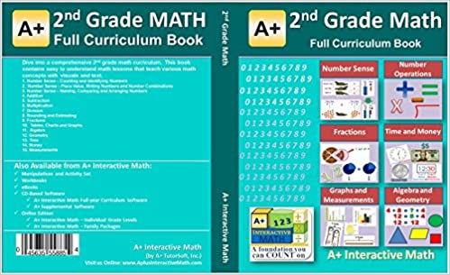 2nd, Second Grade Math Textbook - 125 Lessons (526 Pages Printed B&W ...