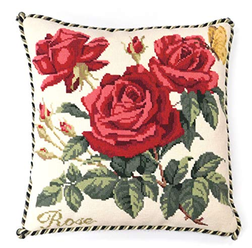 Rose Needlepoint Kit by Elizabeth Bradley. A premium English needlepoint pillow project on a Winter White background with 100% wool yarns. Cottage Garden Collection.