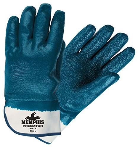 Memphis MCR Safety 9761R Predator, Fully Coated Rough Nitrile Safety Cuff Size Large 12-Pairs