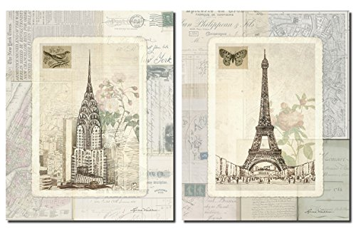 New York and Paris Sketchbook Famous Landmarks with Map and Postcard Backgrounds Two Poster