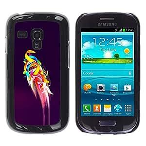 TopCaseStore / la caja del caucho duro de la cubierta de protección de la piel - Parrot Flight Purple Abstract Art - Samsung Galaxy S3 MINI NOT REGULAR! I8190 I8190N