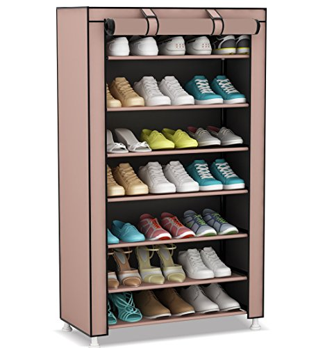 Udear 8 Tier Portable Shoe Rack Organizer 21 Pair Shoes Storage Tower With Dustproof Cover Dark Brown