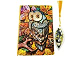 3D Cover Owl Embossed Leather Notebook Journal Handmade Planner Lined Pages Writing Notebook with Panda Bear Bookmark 4 colors (Multicolor)