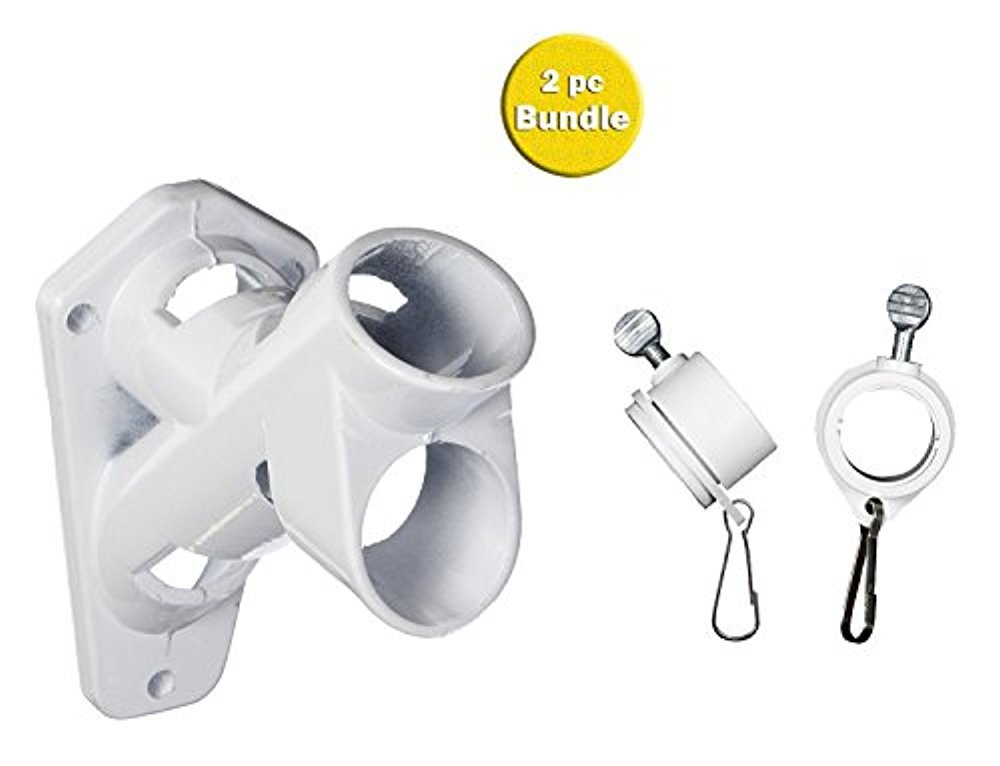 Valley Forge Flag Bundle: Valley Forge Flag 2 Position 1'' Flag Pole Bracket And Valley Forge Flag 1-Inch Diameter Rotating Mounting Rings, 2-Piece