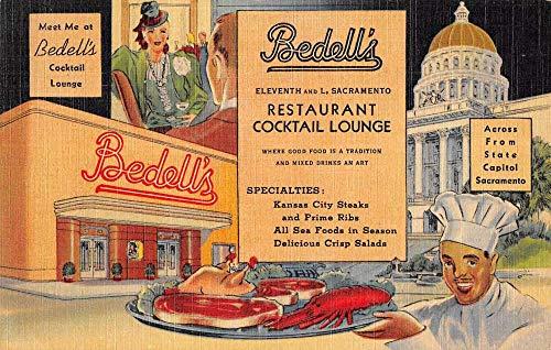 Sacramento California advertising Bedell's Restaurant linen antique pc BB614