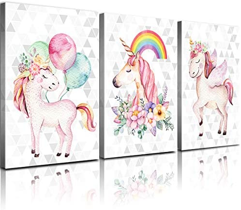 Unicorn Wall Decor Framed Canvas Art Prints Sweet Pink Horse Flower Balloon Rainbow Pictures Posters Modern Artwork Paintings Home Wall Decoration Girls Room Kids Bedroom Gift Set of 3 Panels 32×48
