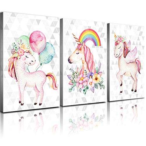 YOOOAHU Unicorn Wall Art for Girls Room 3 Pieces Cute Unicorns Wall Decor Pictures Home Decoration Rainbow Balloon Framed Canvas Print Painting Nursery Kid's Bedroom Bathroom Gifts 3Pcs 12x16 Inch