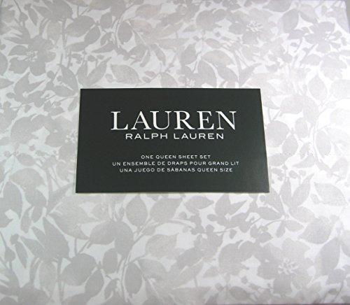 Lauren 4 Pc Floral Queen Sheet Set Light Gray 100% Cotton 300 Thread Ct.