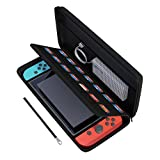 Nintendo Switch Case, amCase Hard Carrying Case for Nintendo Switch with 14 Game Cartridge Holders with Zipper Protective Travel Case (Black)