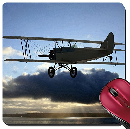 Liili Suqare Mousepad 8x8 Inch Mouse Pads/Mat Very early vintage biplane flying above the clouds Background of blue sky above with clouds in center photo covering up the sun