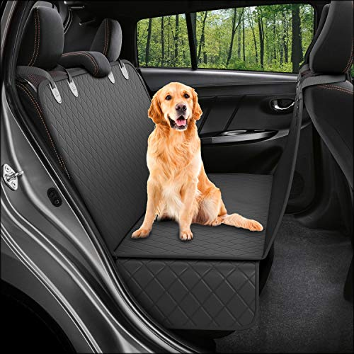 Dog Back Seat Cover Protector Waterproof Scratchproof Nonslip Hammock for Dogs Backseat Protection Against Dirt and Pet Fur Durable Pets Seat Covers for Cars Trucks SUVs (Black) (Best Dog Car Hammock)