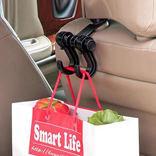 Hot Homieco™ 2pcs Car Hooks Seat Hanger Purse Bag Organizer Holder Double Vehicle Hangers Auto Car Seat Headrest Bag Hook Holder