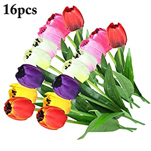 B bangcool 16 Branches Artificial Flower Decorative Simulated Tulip Fake Flower for Easter Decor 6