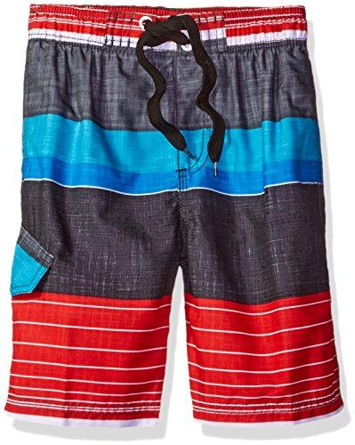 Kanu Surf Boys' Little Viper Stripe Swim Trunk, Black/Red, Medium (5/6) ()