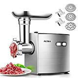 ALTRA Electric Meat Grinder, Stainless Steel Meat Mincer & Sausage Stuffer,【2000W Max】ETL Approved with 3 Grinding Plates, 2 Blades, Sausage & Kubbe Kit, Kitchenaid & Commercial Use, Silver