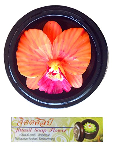 Jittasil Hand-Carved Soap Flower, Orange Orchid in Wood Case Gift Set, 4 Inch by Jittasil Hand-Carved Soap
