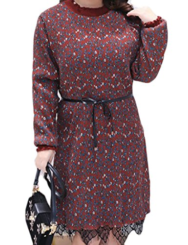 Womens Coolred 1 Top Size Knit Floral Basic Dress Lace Tunic Plus Trim UdPrzwd