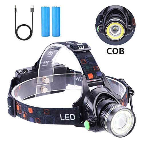 [2019 Newest Version] LED Headlamp Super Bright T6 Spot+ COB (Zoomable) Flood Light,High Lumen IPX4 Waterproof USB Rechargeable Headlight, Up-Close Work Head Light for Outdoor Camping Hunting
