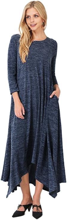 Tabeez Women's Asymmetrical Long Heathered Sweater Maxi Dress (Medium, Navy)