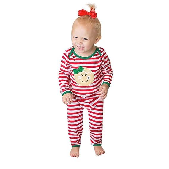 Tefamore Mameluco Bebé Otoño Invierno Recién Nacido Bebé Unisexo Pijamas Raya Impresión Manga Larga