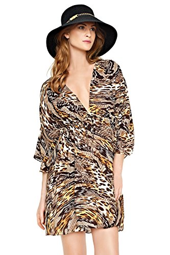 Gottex Women's Sahara Golden Tunic Swim Cover Up Golden Leopard Multi (Small)