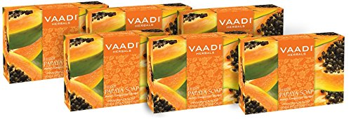Papaya Soap 1 Pound(Pack of 6 X 75 Gms), All Natural, Helps to exfoliate dead skin cells - Vaadi Herbals (Exfoliates Dead Skin Cells)