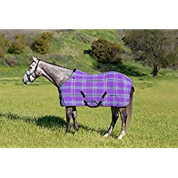 Kensington Products Poly Cotton Horse Blanket - Lightweight Breathable Waterproof Equine Stable Day Sheet (72, 2017- Lavender Mint)