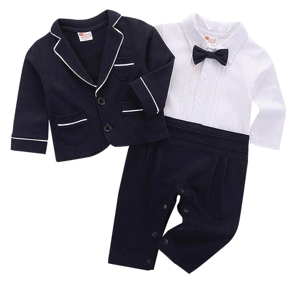 cool elves - Set de 2 Mono Ropa de Bautizo para Bebés de 3-18 Meses Mameluco Largo con Chaqueta de Vestir con Pajarita Lindo - Negro Azul Marino