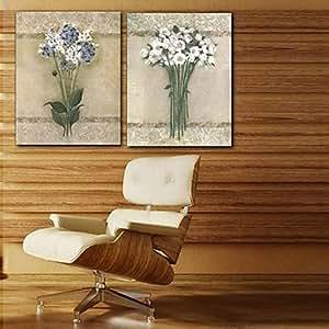 Lienzo envuelto para galerías de arte floral blanca de los pétalos Juego de 2