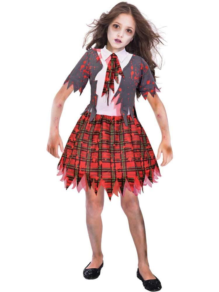 Smiffys Zombie School Girl Skirt Horror Halloween Child Teen Girls Costume 43025