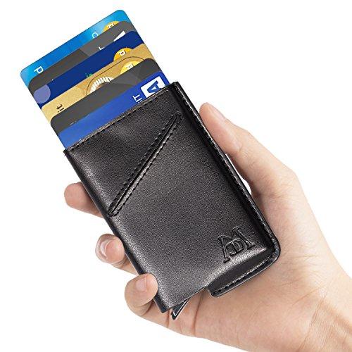 ManChDa RFID Blocking Leather Business Card Holder Credit Card Case Wallet (Black) (Black)