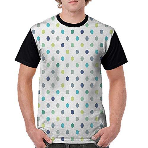 Men's Baseball Short Sleeves,Polkadot,Polka Dots Retro Classy Vintage Fabric Pattern Design Style,Apple Green Dark Blue Jade Green S-XXL Casual Blouses Baseball Tshirts Top