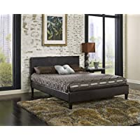 Luxury Home Modern Cosmo Leather Platform Bed, Full, Brown