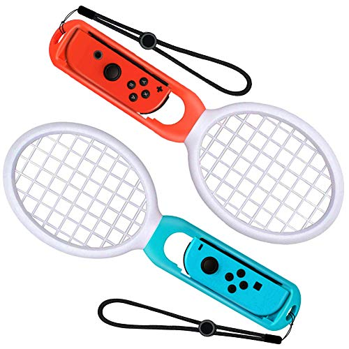 GOSTAR Tennis Racket for Nintendo Switch Joy-Con Controllers, 2 Pieces Tennis Packet Racquet for Mario Tennis Aces, ARMS and Motion Sensing Games